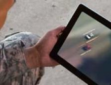 soldier viewing video on a tablet