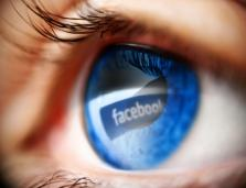 artist's rendering of an eye, close up, with the Facebook logo over the eyeball