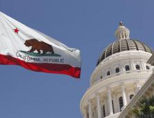 Calfornia flag and Capitol building