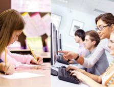 Two images of students working in classrooms