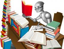 drawing of a computerized human-like figure reading stacks of books
