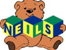 NEILS logo: a teddy bear holding blocks that spell out NEILS