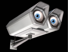 illustration of a security camera with watching eyes