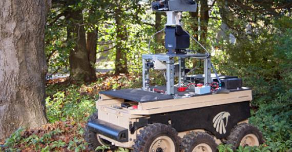 ground vehicle with complex mapping sensor system in a forest setting