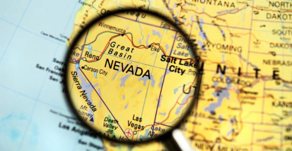 map of nevada with magnifying glass on it