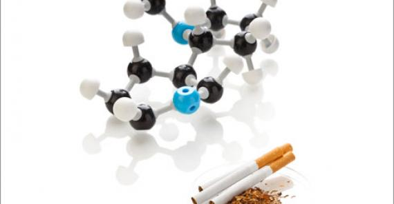 nicotine molecule with cigarettes