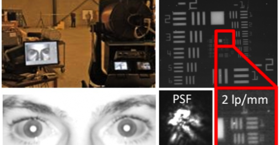 image collage showing SRI's biometric system and a close-up of a man's eyes
