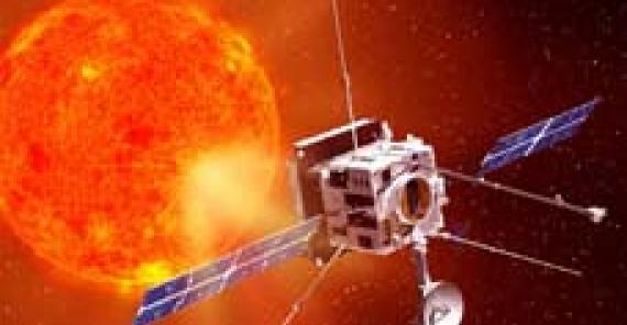 concept illustration of solar orbiter spacecraft approaching the sun