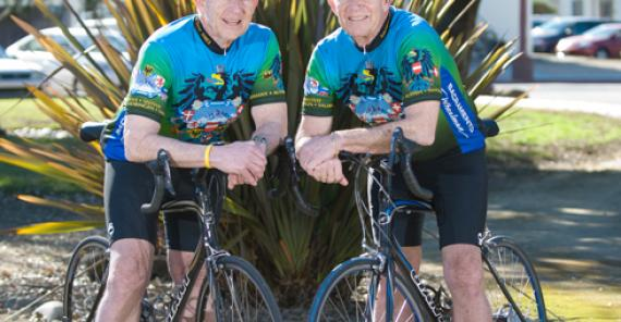 Twins on bicycles