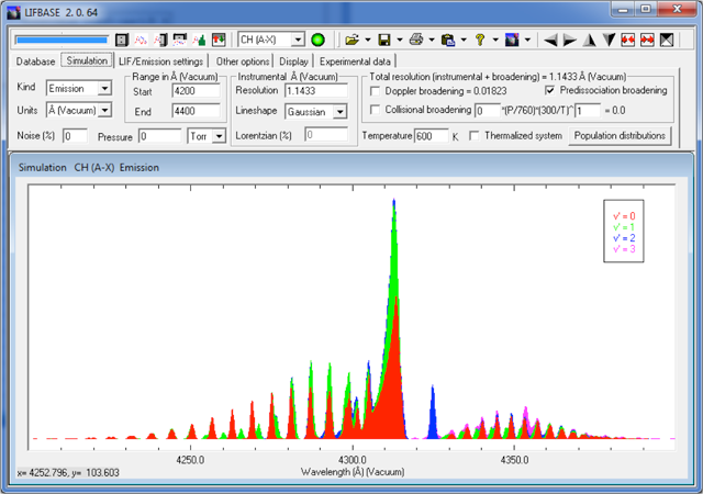Demo screenshot: Database and spectral simulation (actual screen outputs)