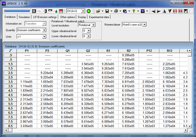 Demo screenshot2: Database and spectral simulation (actual screen outputs)